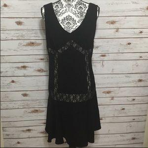 ABS Allen Schwartz Black Nude Illusion Dress NWT